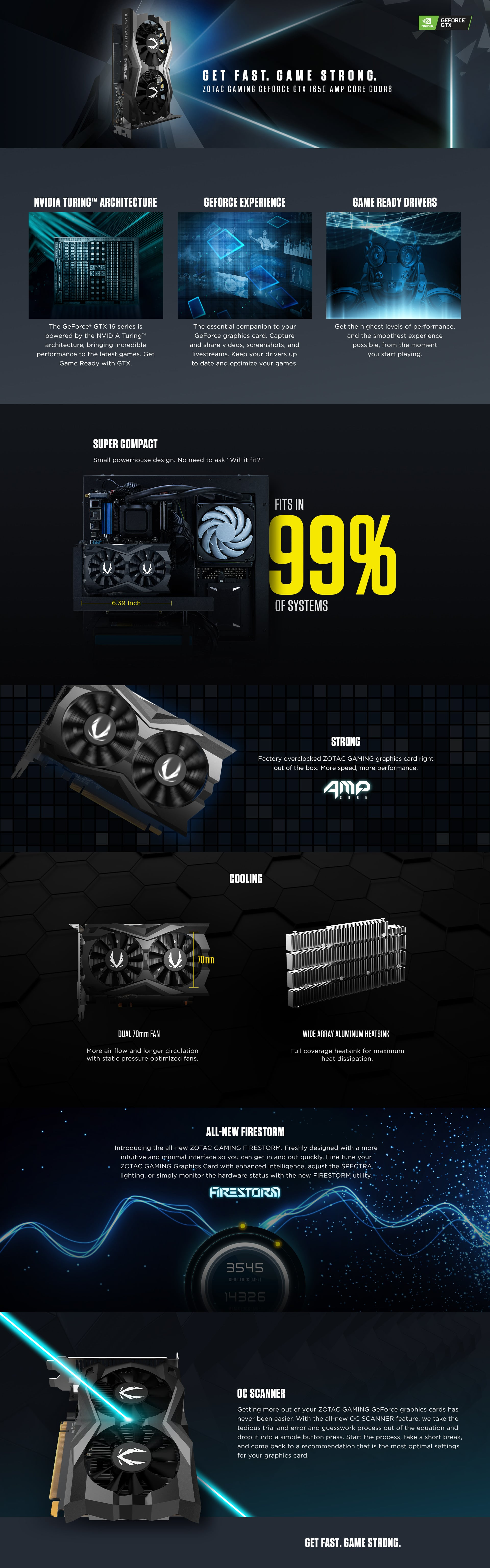 Tarjeta de video Zotac GeForce GTX 1650 AMP, 4GB, GDDR6, 128-Bit, HDMI