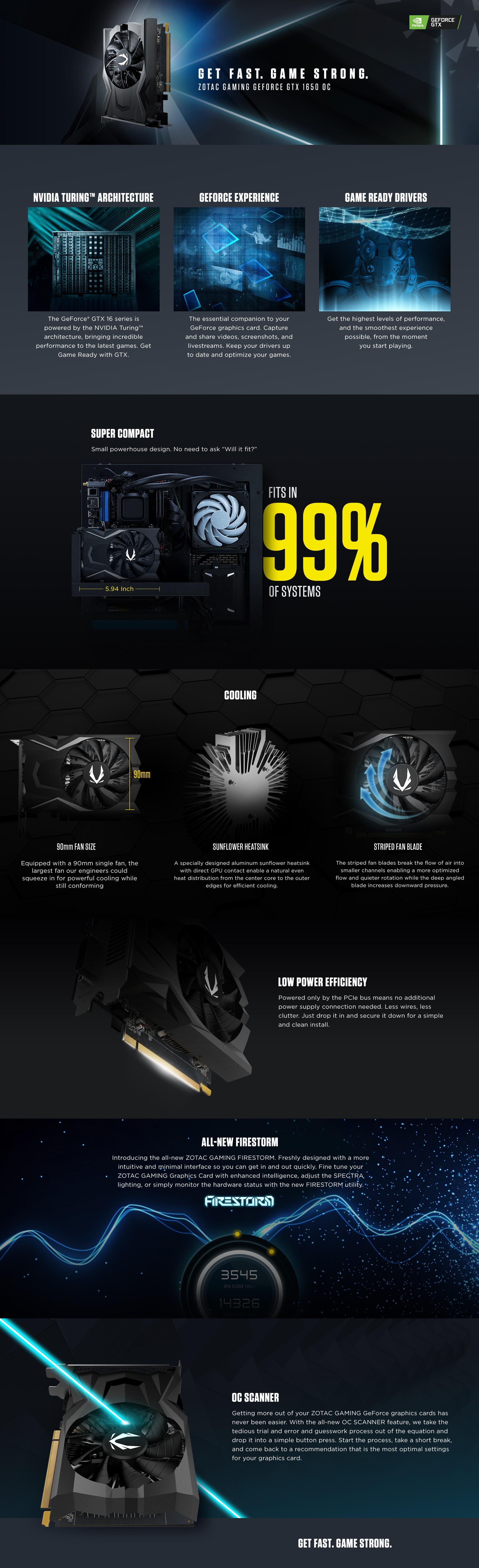 Tarjeta de video Zotac GeForce GTX 1650, 4GB GDDR6, 128-Bits, PCI-e 3.0, HDMI, DisplayPort, DVI-D