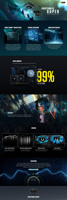 Tarjeta de Video ZOTAC GAMING GeForce GTX 1660 SUPER 6GB GDDR6 192-bit