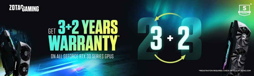 GET 3+2 YEARS WARRANTY ON ALL GEFORCE RTX 30 SERIES GPUS