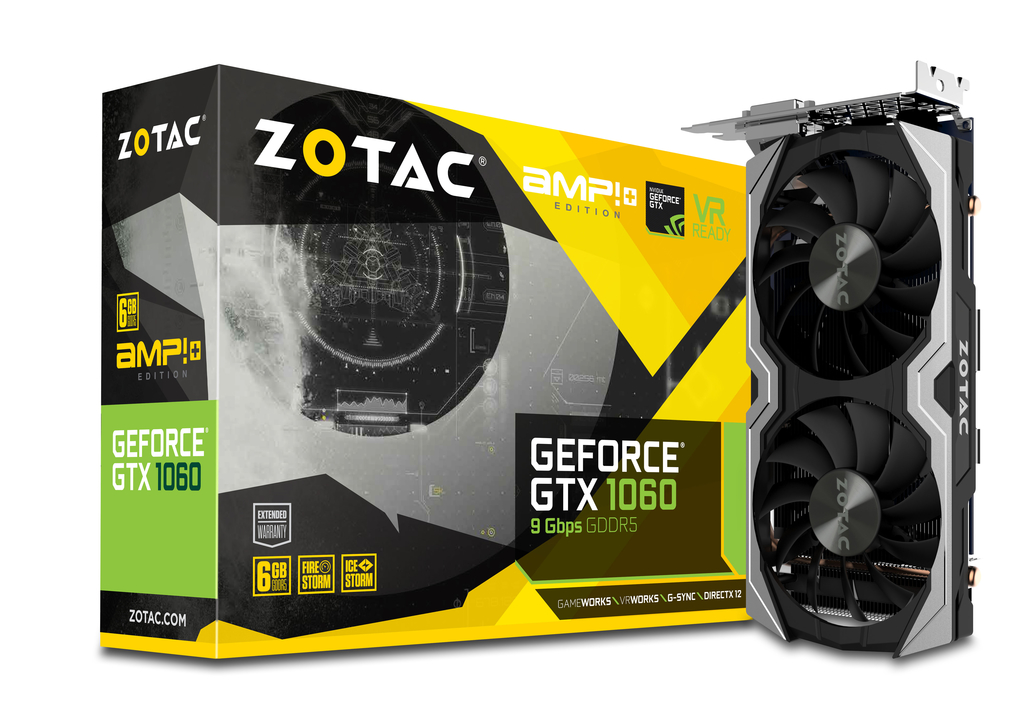 ZOTAC GeForce® GTX 1060 AMP! Edition+ (9Gbps memory)